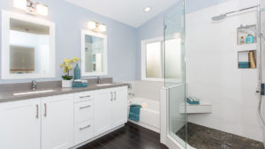White Bathroom, White and Blue Bathroom, His and Hers Vanity