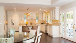 Home Remodeling, Gold and White Kitchen Remodel, Kitchen and living Area Design