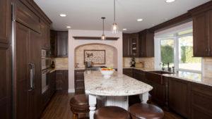 Large Kitchen Remodeling Job, Dark Cabinetry Kitchen Remodel, Large Kitchen Island