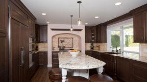 Large Kitchen Island, Dark Wood Kitchen, Southern California Home Remodeling
