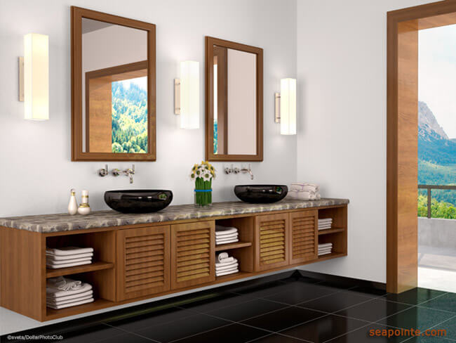 3d illustration of Interior bathroom with beautiful view to natu