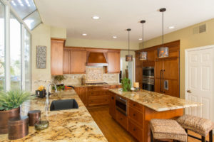 Gold kitchen countertop and kitchen island