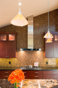 full wall back splash in brown and gold, Sea Pointe Construction Full Remodeling