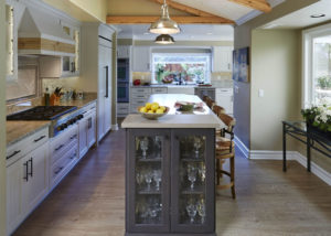 kitchen island built with custom drink storage area