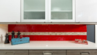 Glass Backsplash, Red Backsplash, Modern Kitchen