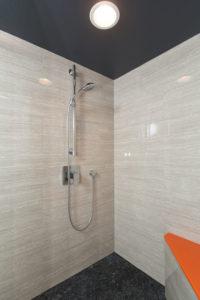 Modern Master Bathroom Luxury Shower with Black Flooring