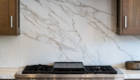Carrera Marble Backsplash, Marble Kitchen Detail, Irvine Home Remodeling