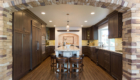New Kitchen Design, Dark Kitchen Design, Bar Stools at Kitchen Island