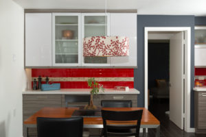 Red Subway Glass Tile Backsplash