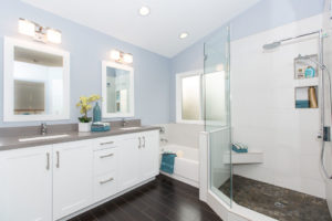 Blue Bathroom in Newport Beach Home