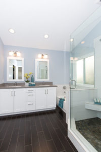 All White and Blue Master Bathroom in Laguna Hills Home