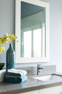 Full Blue White and Gray Bathroom Remodel in Laguna Beach
