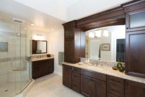 Very Large Master Bathroom Vanity, Large Frame-less Shower Doors