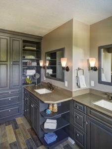 Custom Storage in Master Bathroom Split Vanity