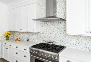 White and Blue mosaic backsplash