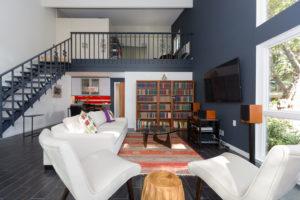 Modern Living Area Design With Built In Custom Bookshelves