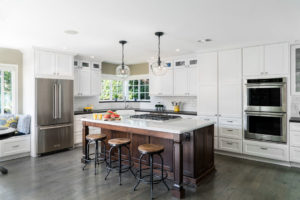 Bright White Kitchen Design with Large Kitchen Island