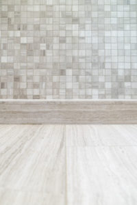 Master Bathroom Floor Finished in Two Types of Tiles Of Similar Color