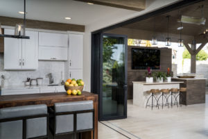 indoor outdoor kitchen and entertainment center