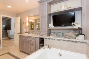 Master Bathroom Complete Buildout with Custom Light Wood Shelving