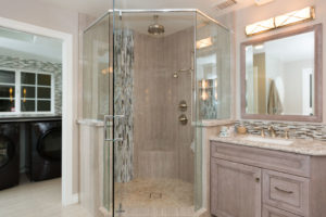 Glass Corner Shower with Master Bathroom Vanity Attached