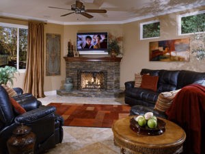 Family Room Home Addition with Custom StoneWork Fireplace