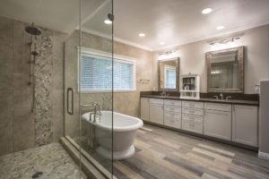 Large Master Bathroom Vanity in Master Bathroom with Free Standing Tub