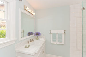 Blue and White Bathroom in Orange County Beach House