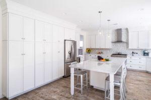 large white kitchen with kitchen island