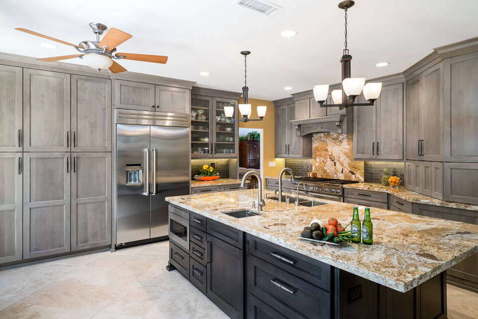 Gray Transitional Kitchen, Trabuco Canyon California, Natrual Grainte  Countertops