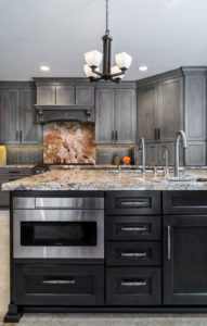gray cabinets and black kitchen island
