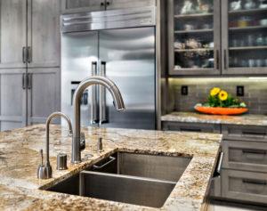 Kitchen island designed with sink