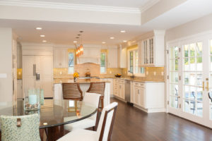 French Doors in Gold and White kitchen