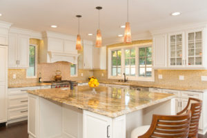 Large Kitchen Island with Gold Natural Stone Countertop