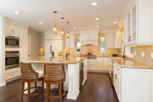 kitchen remodel with large square kitchen island