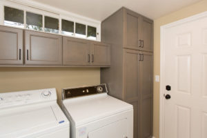 Laundry Room with Custom Shelves for Storage