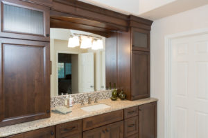 Large Dark Wood Master Bathroom Vanity
