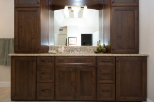 Master Bathroom Vanity with Custom Storage and Mirror