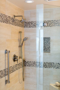 Large Luxury Shower Fixtures With Tile Detail and In Shower Seat