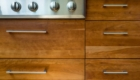 Brown Wooden Cabinets, Drawers in Kitchen, Custom Kitchen Storage