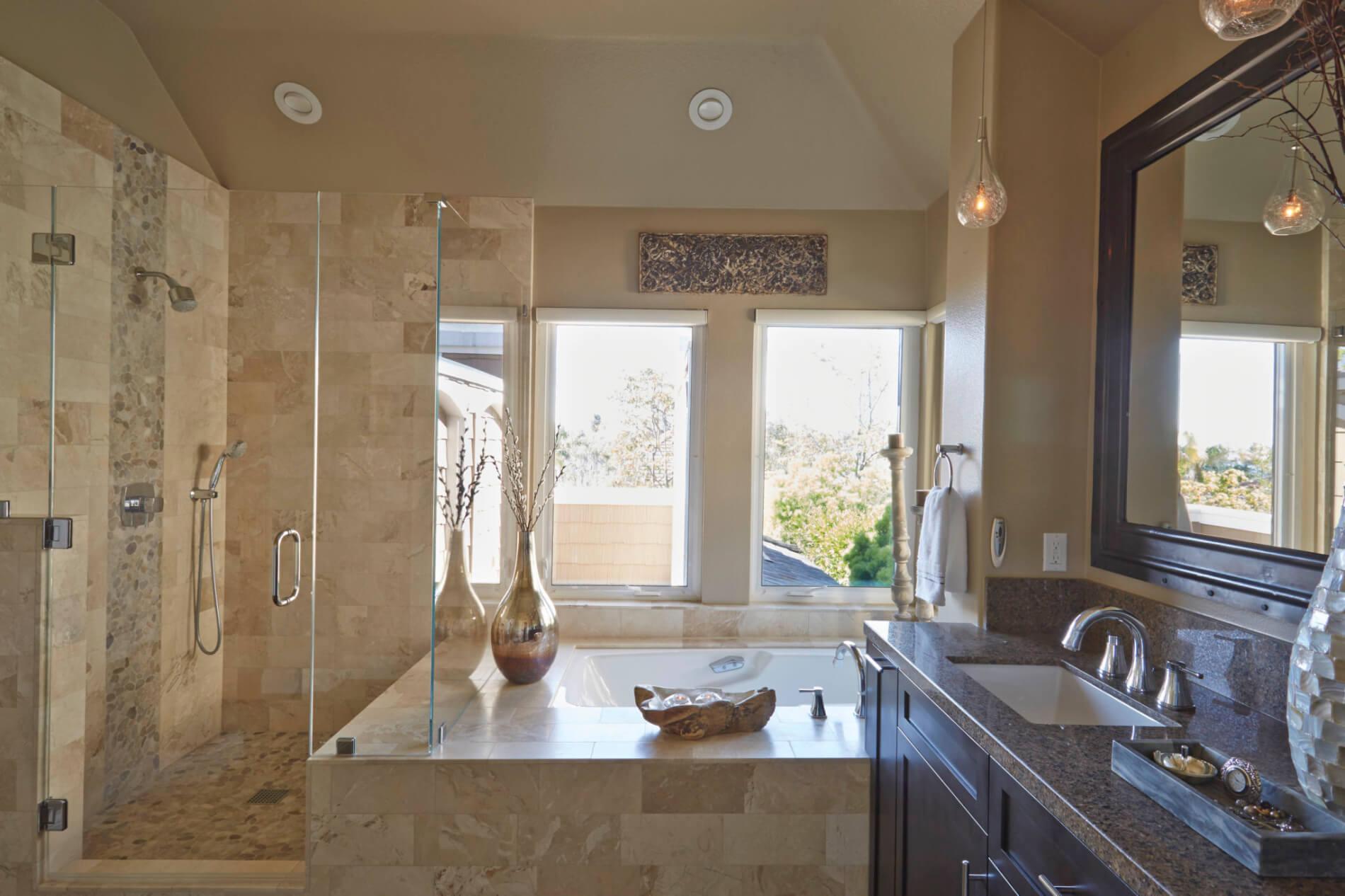 sleek, modern bath remodel