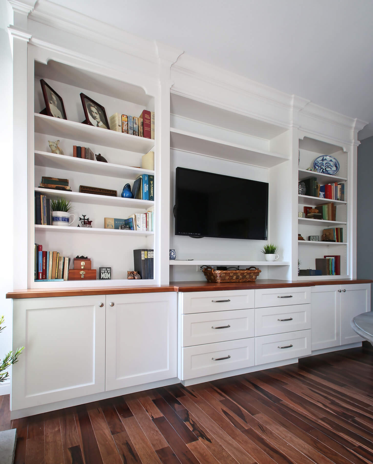 Built In Book Shelf Remodel in Newport Beach, Orange County Family Room Remodel