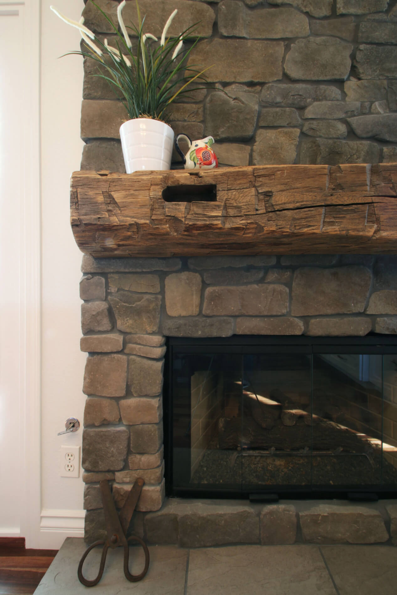 Reclaimed Wood Fireplace Mantle Remodel Orange County, Stack Stone Fireplace in Orange County Remodel
