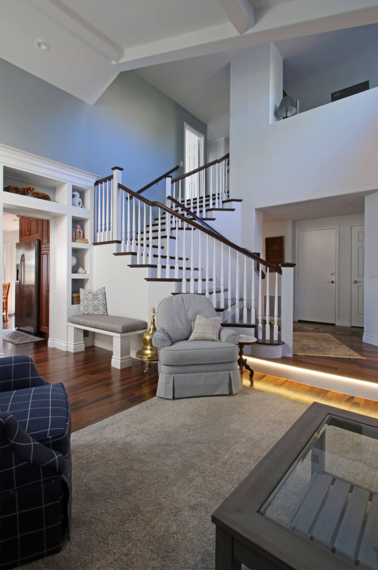 Grand Staircase Remodeled in Newport Beach California, Large Entry Way Staircase Remodel