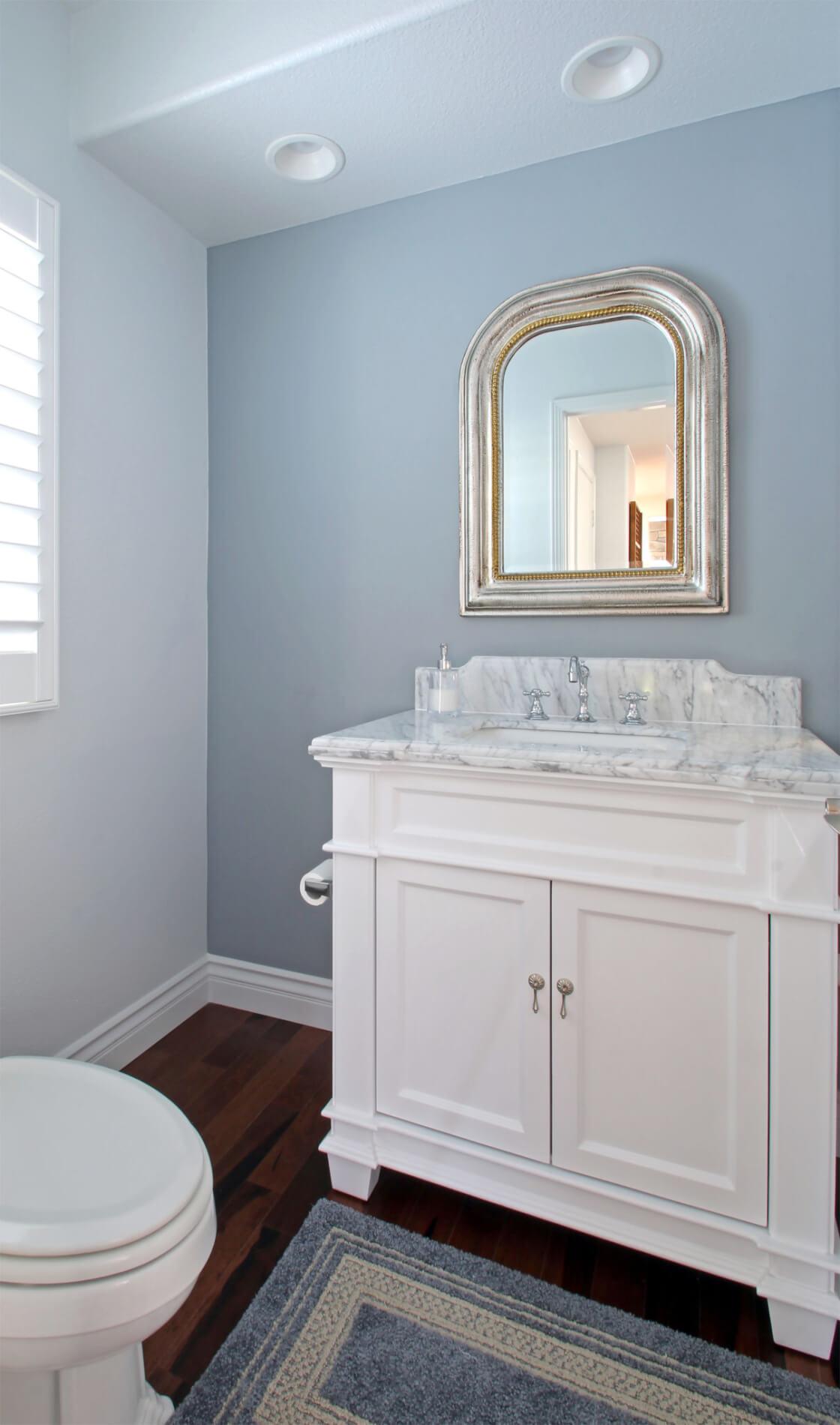 Powder Bathroom Remodel in Newport Beach Family Home, Family Home Remodel Powder Bathroom