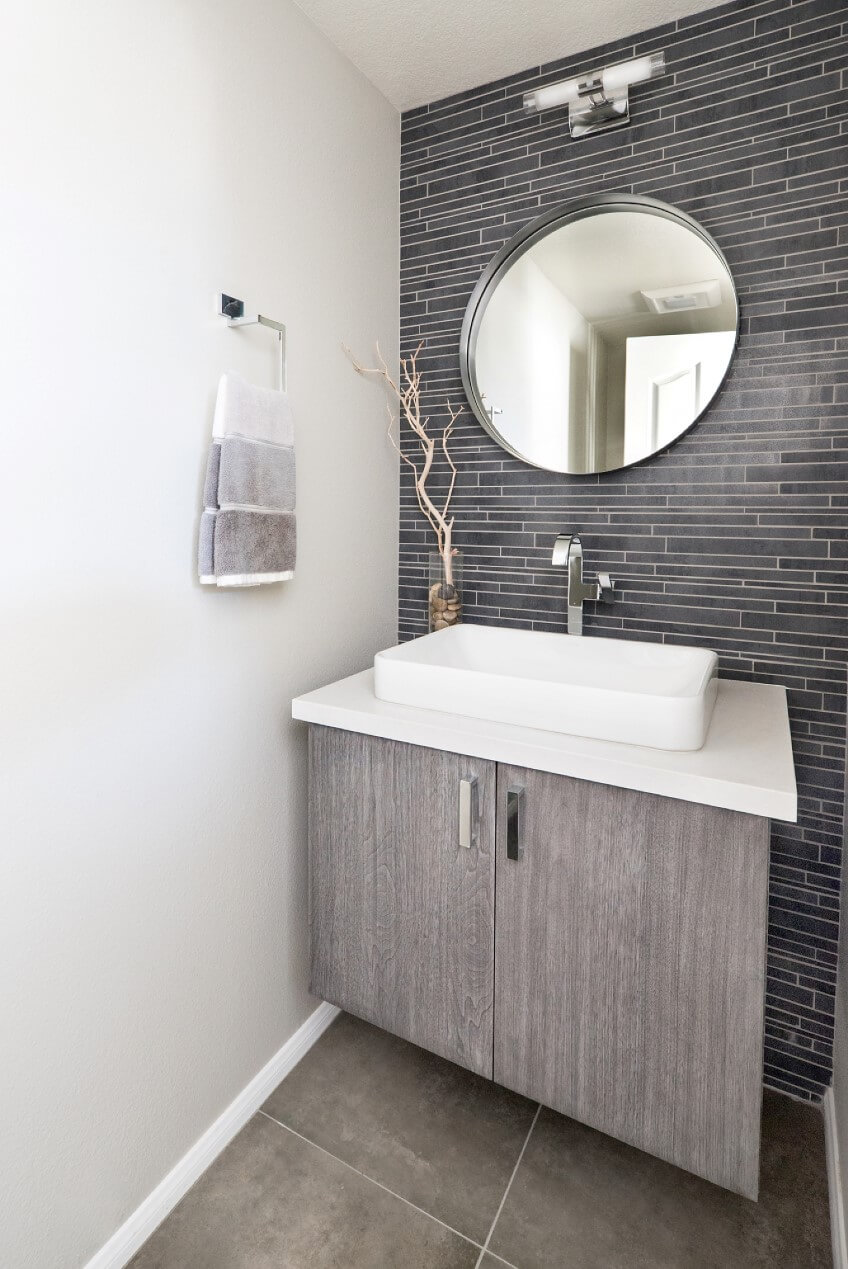 Floating Vanity in Powder Bathroom, Powder Bathroom Remodel, Tile Wall Remodel