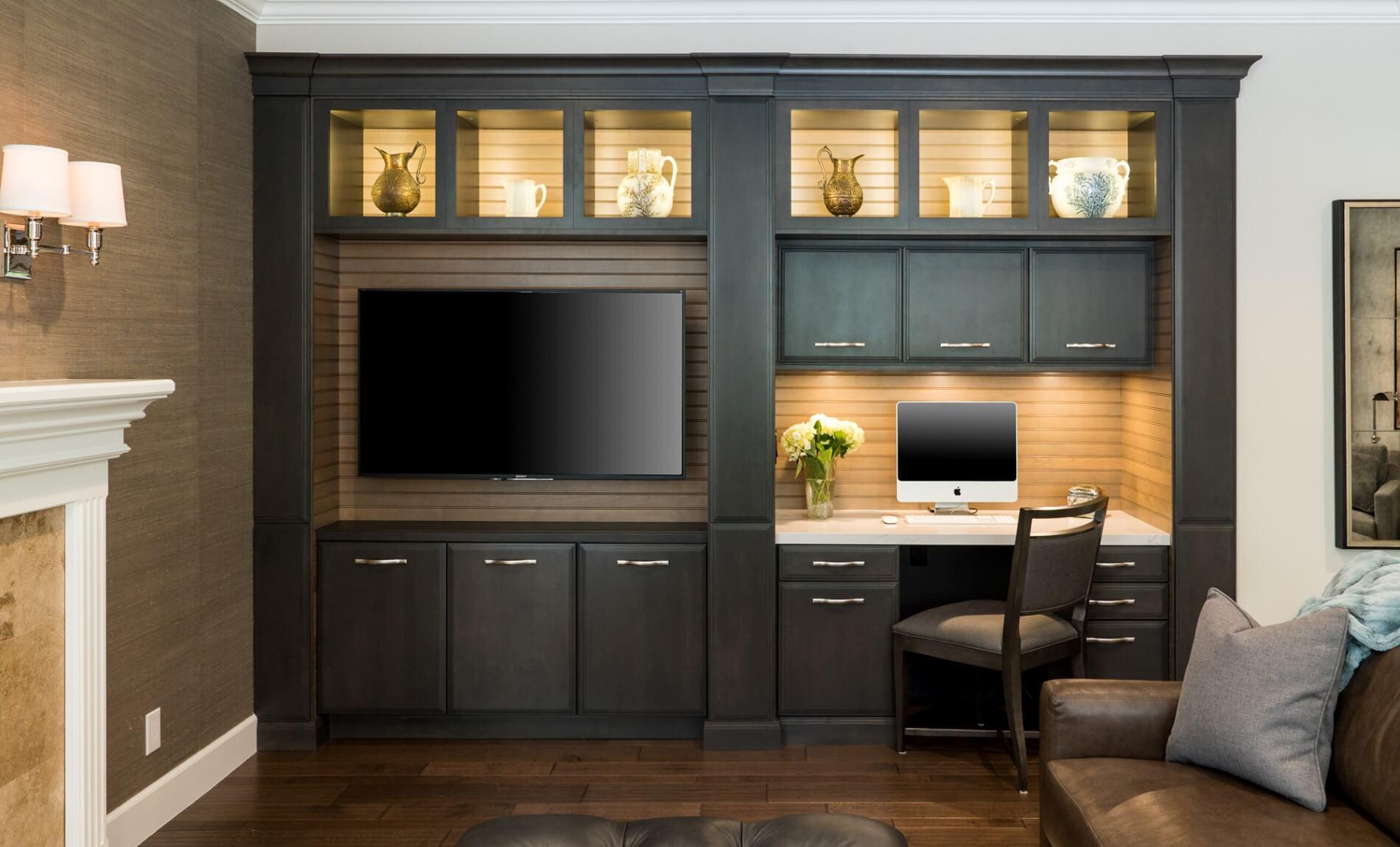 Built-in Desk Entertainment Area, Entertainment Area Design, Home Office Design