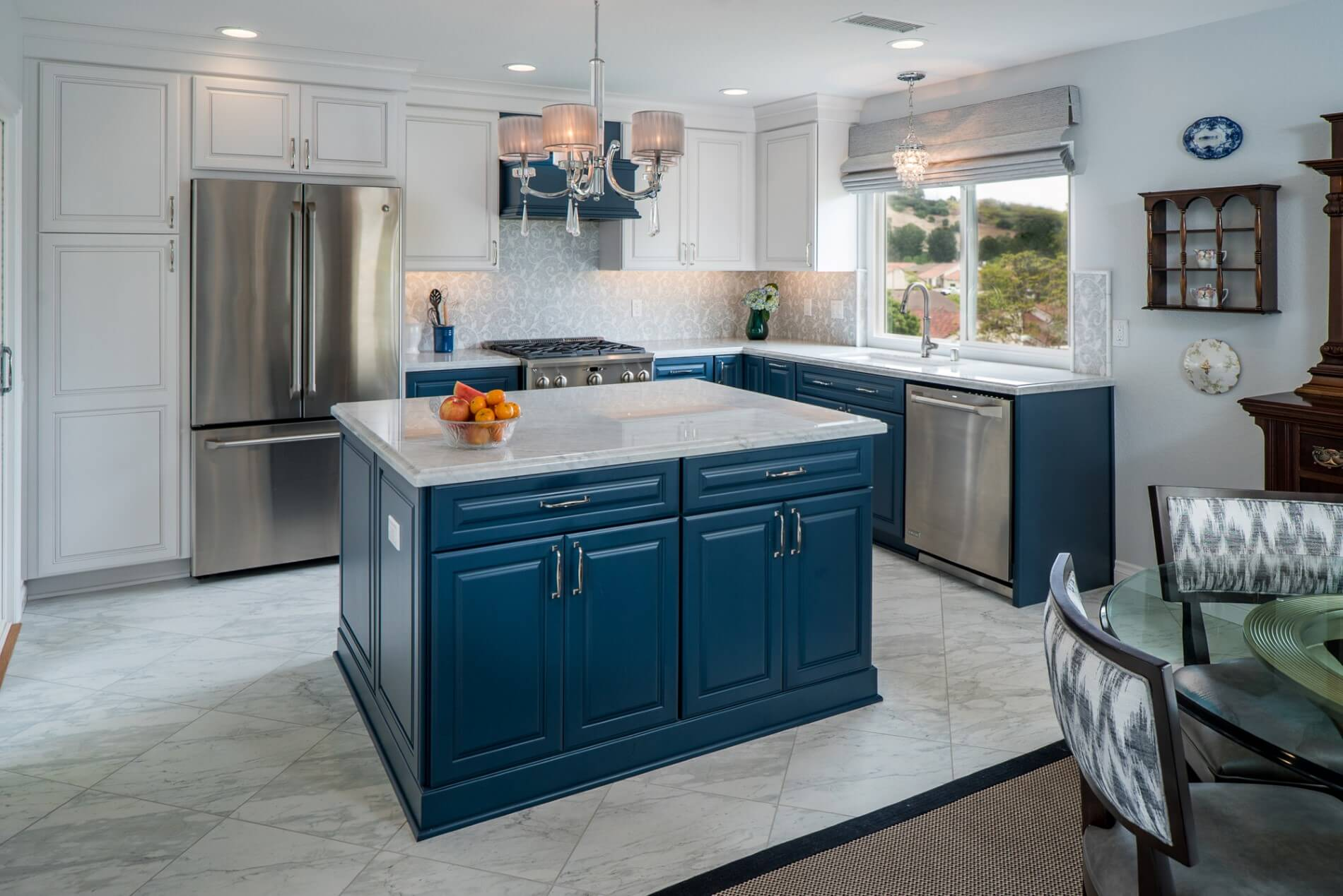 Blue Kitchen Island, Luxury Kitchen Island, Orange County Design Build Firm