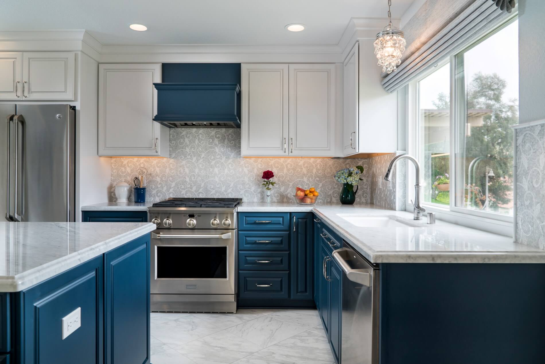 Custom Blue Cabinets in Kitchen, Blue Orange County Kitchen, Blue and White Luxury Kitchen Design