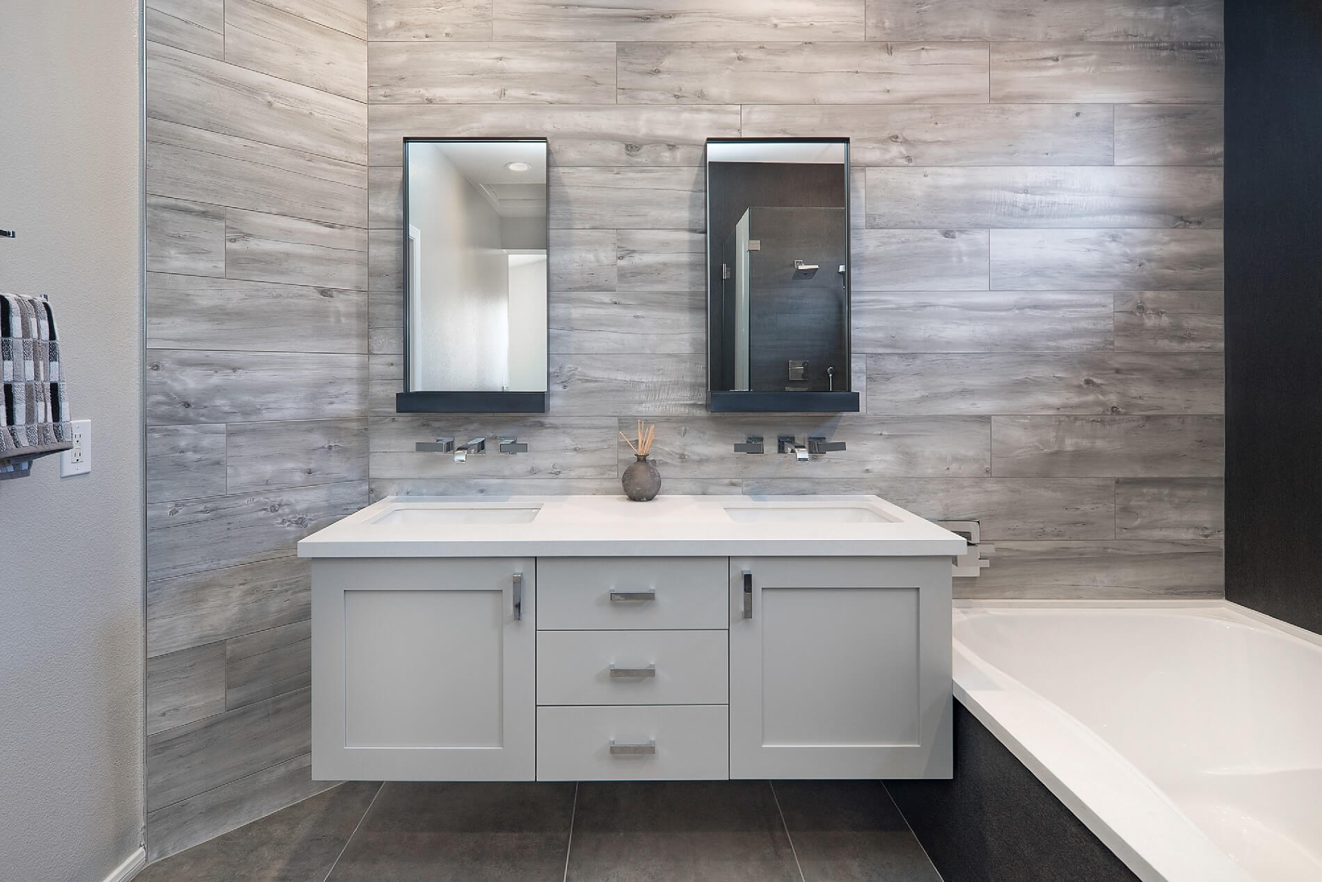 Master Bathroom Floating Vanity, Floating Vanity Design, Master Bathroom Makeover Huntington Beach